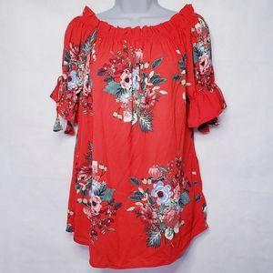 ANTILIA FEMME Red Floral Puff Sleeve Top Medium